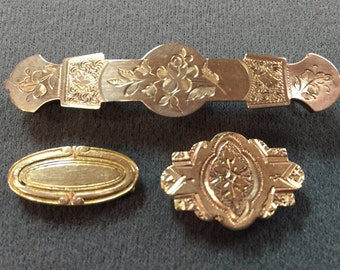 Three Lovely Victorian Bar Brooches-Free shipping