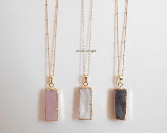Gemstone Bar Necklace, Gemstone Necklace, Bar Necklace, Rose Quartz, Amethyst, Crystal Necklace, Bridesmaid Gift, Long Necklace, Boho