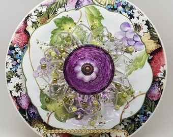 """Southern Belle~10-1/2""""-by BowKnott Garden Glass Flowers (Free mounting attachment included)"""