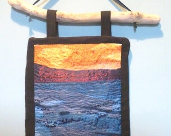 Sunset Sea Textile Embroidery Driftwood Wall Hanging