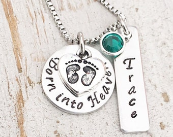 Miscarriage Necklace - Loss of a Baby - Stillbirth Memorial Necklace - Pregnancy Loss  - Mother's Sympathy - Born into Heaven