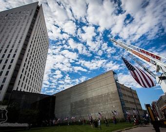 Wichita Fire Department,Huge American Flag,Ladder truck,Quint,fire department,FD,WFD,Kansas,epic center,clouds in blue sky,USA,ks