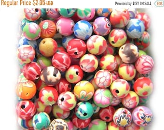 SALE 20 Assorted Polymer Clay Flower Beads - 6mm