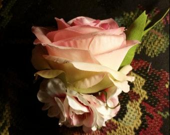 Large Pink Rose Hair Clip Arrangement