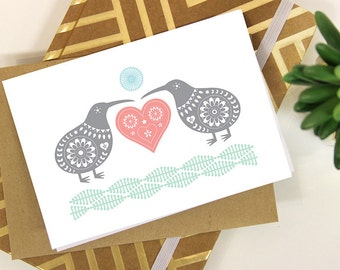 Kiwi Folk Art Love (Aroha), New Zealand Kiwi Bird with Love Heart Engagement or Wedging Greeting Card