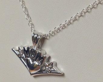 "Natural Diamond ""MOM"" Pendant 925 Sterling Silver"