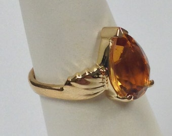 Natural Citrine Ring 925 Silver 14kt Yellow Gold Plated