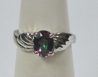 Natural Mystic Topaz Ring 925 Sterling Silver