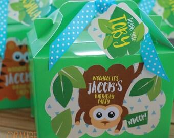 Personalised Childrens SAFARI JUNGLE Birthday Party Bag Box Lunch Activity Stationary Elephant * Monkey * Lion * Tiger Wild Animals