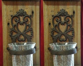 Rustic Wall Sconce Set with Votive Candle Holders