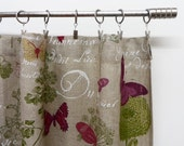 """Two Natural linen valance 56"""" x 10"""". French cafe curtain.  Burlap butterfly valance. Cafe style curtain kitchen curtains"""