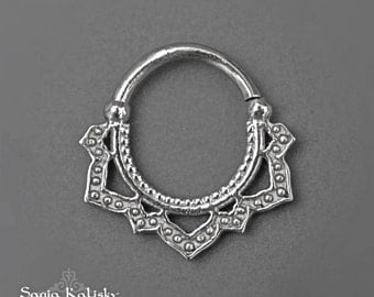 Tribal Septum Ring In Sterling Silver, Handmade Gypsy Ethnic Tribal Sacred Geometry Jewelry By Sagia