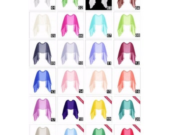 Stole chiffon, 100% silk, high quality, 180 x 55 cm. 24 colors