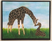 Mother and Baby Giraffes Unique Print with a Hidden Mickey