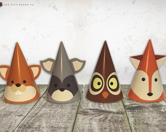 Woodland Party Hats - Woodland Animal Party Hats, Woodland Birthday Party Hats, Woodland Party Decorations, Woodland Birthday Hat, Printable
