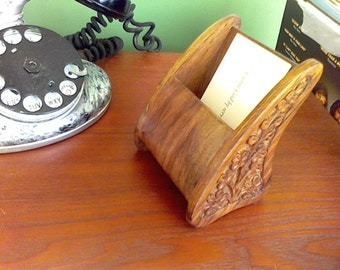 Bussiness card holder, wood, hand carved, free shipping to USA