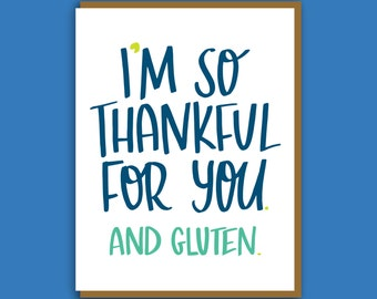 Gluten Card. Food Card. Card for Best Friend. Funny Gluten Card. Colorful Greeting Card. Funny Birthday Card. Thank You Note