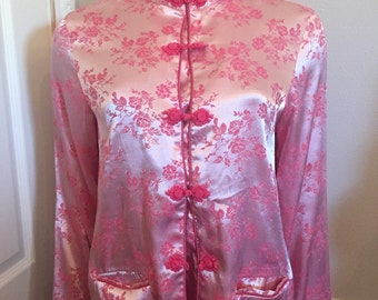 90's Willow Blossom Pink Asian blouse / Jacket top with pockets / size Large