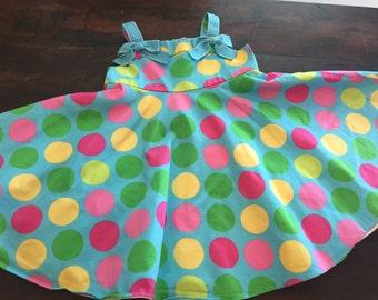 Vintage kids Girls 90's does 50's bright polkadot kids dress size 18 months
