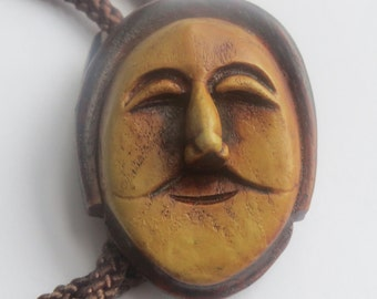 Handcrafted Wooden Man Face Actor Bolo Tie IC  Lot V
