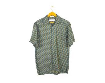 jhane barnes woven pastel rainbow button down shirt / vintage 90s / multicolor pattern