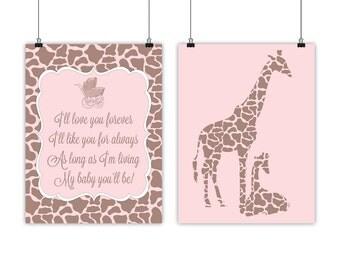 giraffe nursery art for baby girl nursery art prints with giraffes - I'll love you forever - brown pink nursery decor, baby shower gift girl