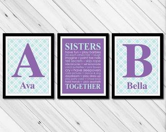twin girls nursery decor - monogram sisters wall art - sisters together - purple twin girls room art - kids playroom decor - sister decor