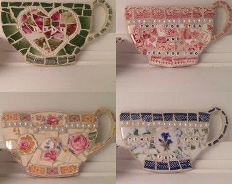 Mosaic teacup wall hanging