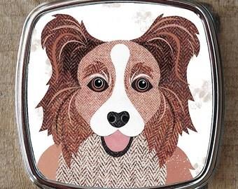 Papillion dog compact mirror