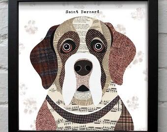 Saint Bernard dog print