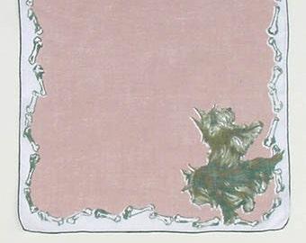 Vintage Dogs with Bones Handkerchief (Inventory #M2241)