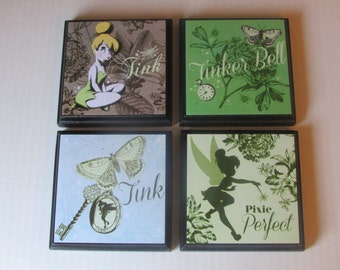 Tinker Belle Room Wall Plaques - Set of 4 Tinker Belle Girls Room Decor - Tink Wall Signs - Fairy Girls Room Decor