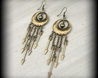 Arrow earrings Goddess Artemis 'Huntress' Antiqued Bronze Vintage Arrow and heart earrings for pierced ears Huntress