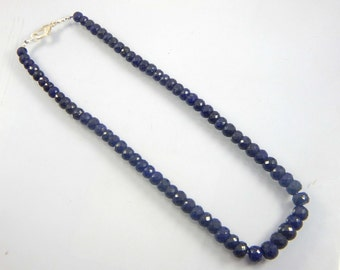 Holiday Sale 25% OFF 283 ct natural dyed Hot Blue sapphire Roundel beads 6-10 mm 17 inch Necklace