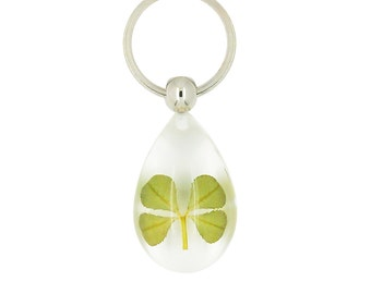 Celtic Lucky Real 4 Four Leaf Clover Clear Good Luck Keyring With Gift Box & Guarantee