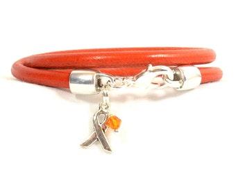 Multiple Sclerosis (MS) Awareness Bracelet - Orange 5mm Round Wrap Bracelet with Lobster Clasp (5R-088)