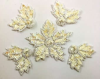 """Flower with Leaves Set of Five Appliqués, Cream Sequins White Beads, Leaf 2.5"""", Flower 4""""  -0512-1168"""