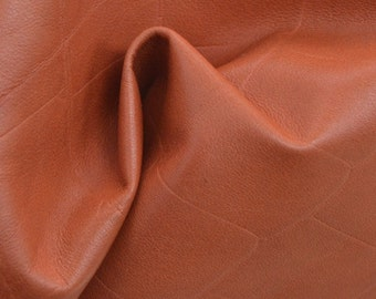 "Fashion Mango Tango Reptile Leather Cow Hide 12"" x 12"" Pre-cut 1 1/2 ounces TA-38969 (Sec. 5,Shelf 6,B)"