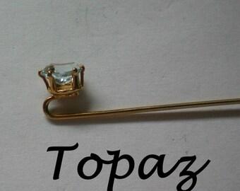 Sparkling Blue Topaz Stick / Lapel Pin - 4761