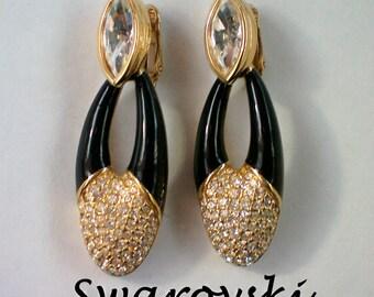 Swarovski Swan Dangle Crystal Clip Earrings - 4833
