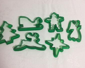 Green Plastic Christmas Cookie Cutter Set Vintage