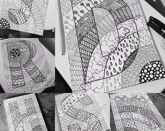 Zen doodle colouring in initial! Printed copy A4
