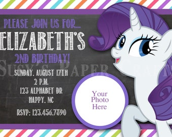 MLP Rarity Birthday Invitation, Digital File, You Print
