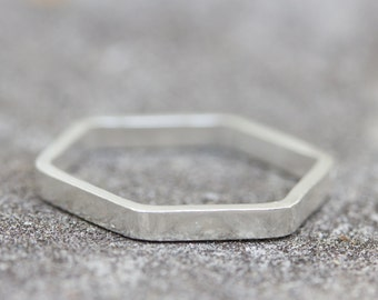 Wide hexagon - modern ring, Sterling silver stackable ring