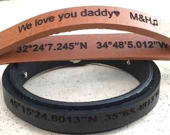 FREE SHIPPING-Men Bracelet,Men Leather Bracelet,Men Personalized Bracelet,Custom Leather Bracelet,Double Strap Bracelet,Engraved Bracelet