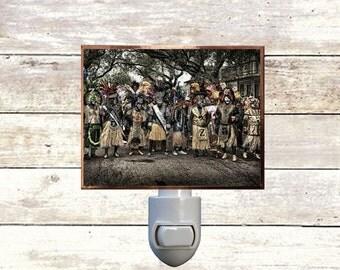 "Night Light,  ""The Tramps"", New Orleans Mardi Gras, Zulu Krewe, Handmade, Copper Foiled"