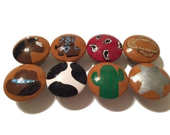 8 Custom Boys Cowboy Hand Painted Drawer Pulls Knobs