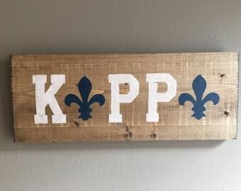 handmade Kappa Kappa Gamma wood sign fan outline fleur de lis