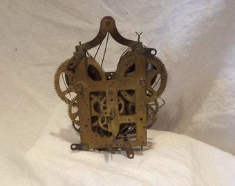 Clock Mechanism or Movement, Vintage Brass, Salvage Chic, Steampunk Timepiece