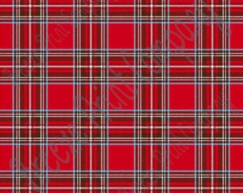 Red, brown, blue and white tartan plaid craft  vinyl sheet - HTV or Adhesive Vinyl -  HTV1823